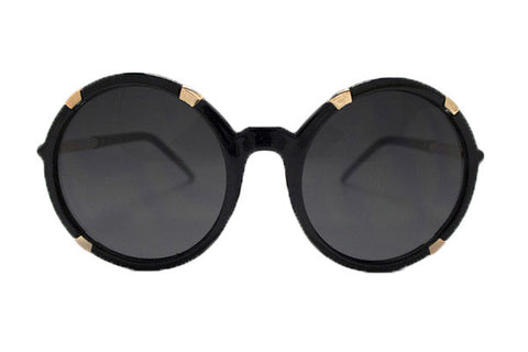Spitfire - Gypsy Moth Black & Gold Sunglasses, Black Lenses