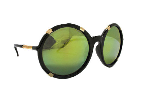 Spitfire - Gypsy Moth Black & Gold Sunglasses, Gold Mirror Lenses