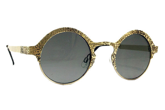 Spitfire - Sci Fi Gold Metal Sunglasses, Black Lenses
