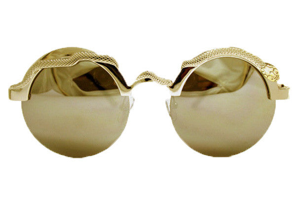 Spitfire - Snake Gold Sunglasses, Gold Green Mirror Lenses