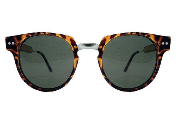 Spitfire - Teddy Boy 2 Tortoise Shell & Silver Sunglasses, Brown Lenses