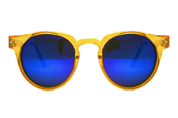 Spitfire - Teddy Boy Orange Sunglasses, Blue Mirror Lenses