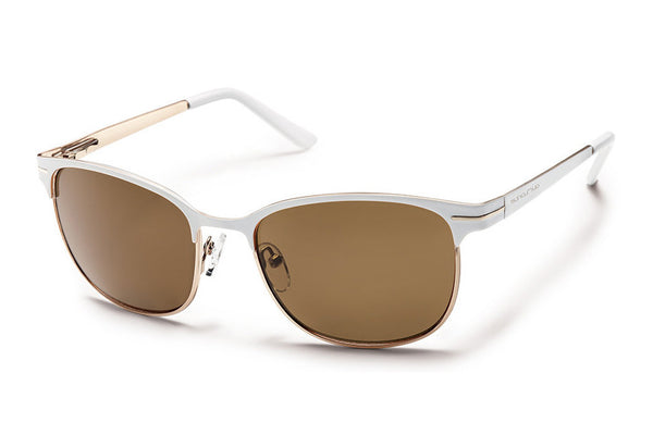 Suncloud - Causeway White Sunglasses, Brown Polarized Lenses