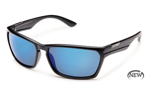 Suncloud - Cutout Matte Black Sunglasses, Blue Mirror Polarized Lenses