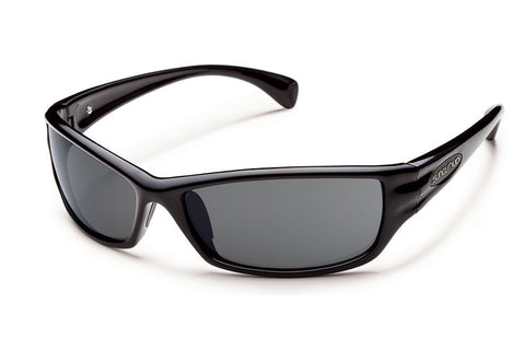Suncloud - Mayor Black Sunglasses, Blue Mirror Polarized Lenses