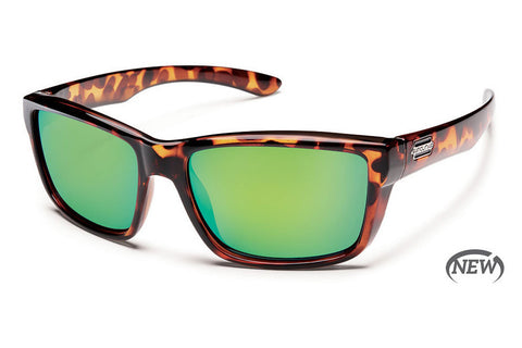 Suncloud Mayor Tortoise Sunglasses, Green Mirror Polarized Lenses