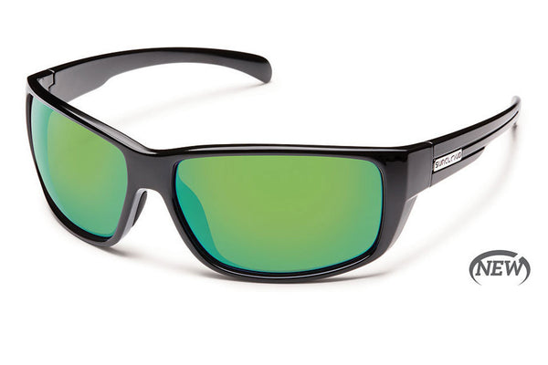 Suncloud - Milestone Black Sunglasses, Green Mirror Polarized Lenses