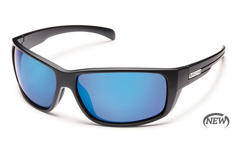 Suncloud - Milestone Matte Black Sunglasses, Blue Mirror Polarized Lenses
