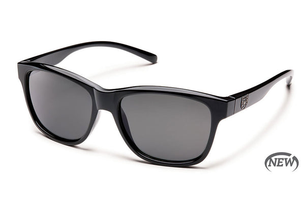 Suncloud - Pageant Black Sunglasses, Gray Polarized Lenses