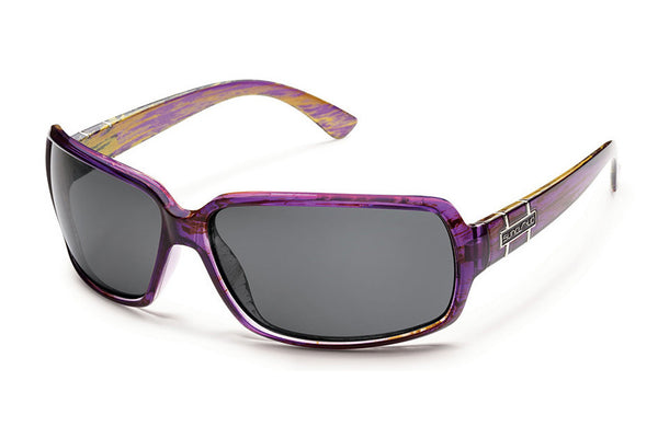 Suncloud Poptown Purple Backpaint Sunglasses, Gray Polarized Lenses