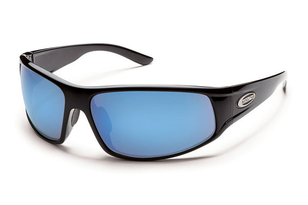 Suncloud - Warrant Black Sunglasses, Blue Mirror Polarized Lenses