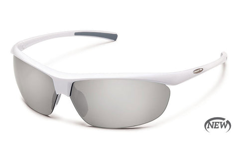 Suncloud - Zephyr White Sunglasses, Silver Mirror Polarized Lenses
