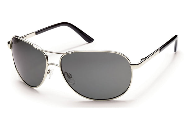 Suncloud - Aviator Silver Sunglasses, Gray Polarized Lenses