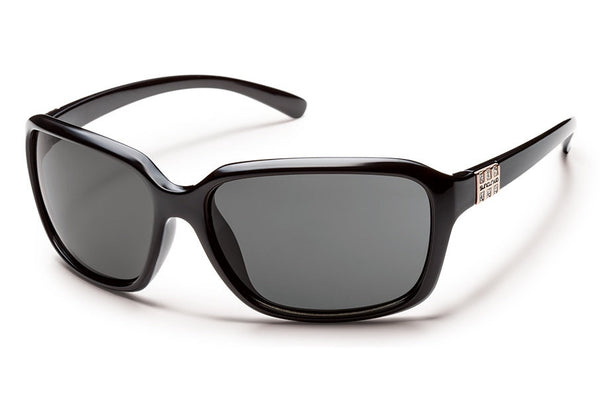 Suncloud Blossom Black Sunglasses, Gray Polarized Lenses