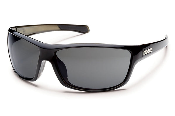 Suncloud Conductor Black Backpaint Sunglasses, Gray Polarized Lenses