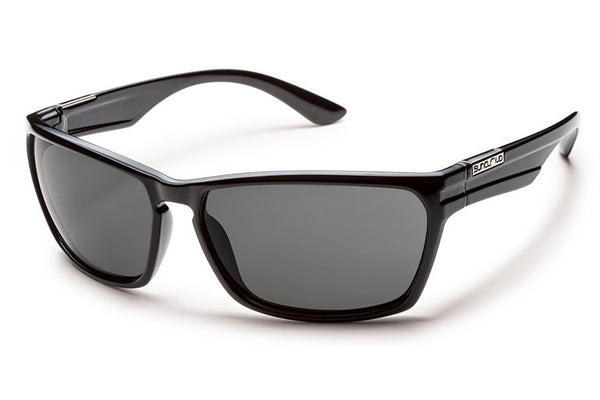 Suncloud - Cutout Black Sunglasses, Gray Polarized Lenses