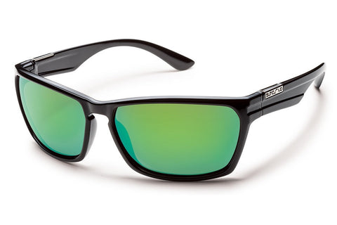 Suncloud Cutout Black Sunglasses, Green Mirror Polarized Lenses