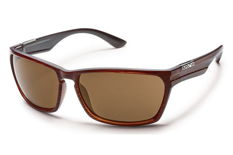 Suncloud - Voucher Brown Stripe Sunglasses, Brown Polarized Lenses
