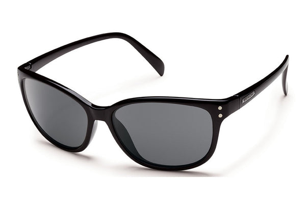 Suncloud - Flutter Black Sunglasses, Gray Polarized Lenses