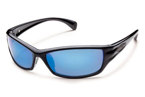 Suncloud - Hook Black Sunglasses, Blue Mirror Polarized Lenses