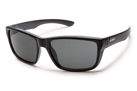 Suncloud - Mayor Matte Black Sunglasses, Gray Polarized Lenses