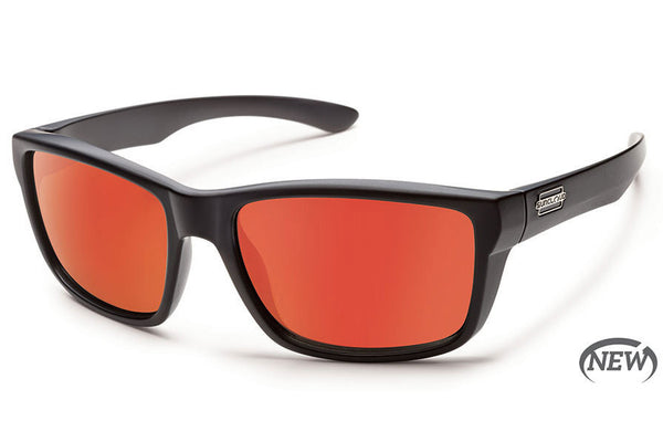 Suncloud - Mayor Matte Black Sunglasses, Red Mirror Polarized Lenses