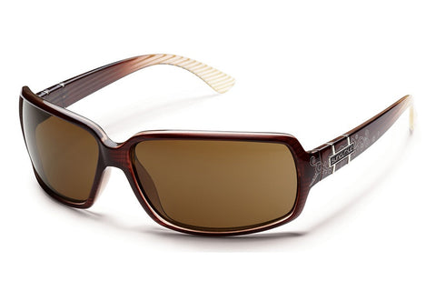 Suncloud - Poptown Brown Stripe Laser Sunglasses, Brown Polarized Lenses