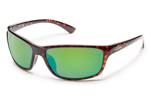 Suncloud - Sentry Tortoise Sunglasses, Green Mirror Polarized Lenses