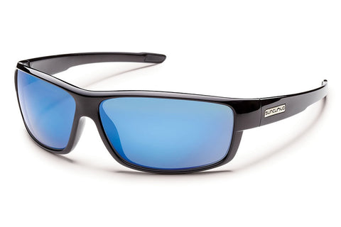 Suncloud - Voucher Black Sunglasses, Blue Miror Polarized Lenses