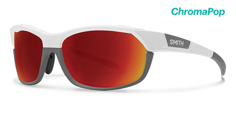 Smith - Pivlock Overdrive Matte White Cement Sunglasses / ChromaPop Sun Red Mirror Lenses