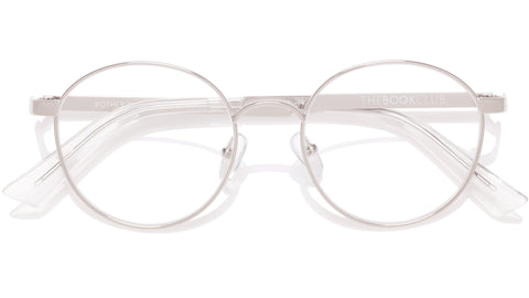 The Book Club - Bothering Sights 51mm Silver Cellophane Eyeglasses / Screen Blue Light Clear +0.00 Lenses