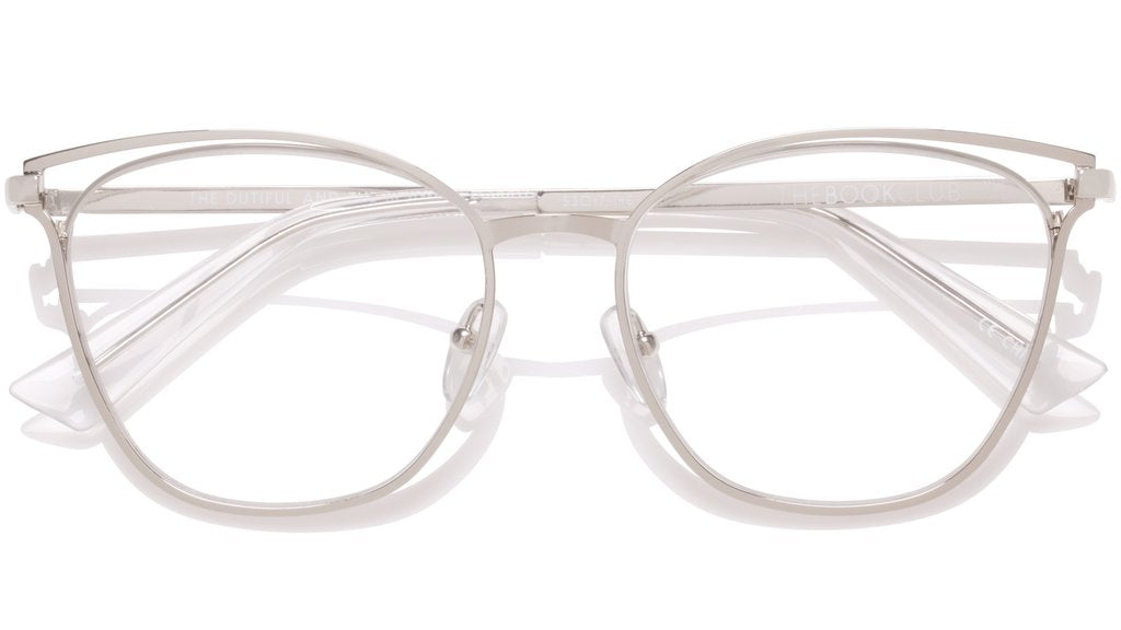 The Book Club - The Dutiful and the Scammed 55mm Silver Eyeglasses / Screen Blue Light Clear +2.50 Lenses