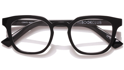The Book Club - Cents and No Ability 48mm Black Marker Eyeglasses / Screen Blue Light Clear +0.00 Lenses
