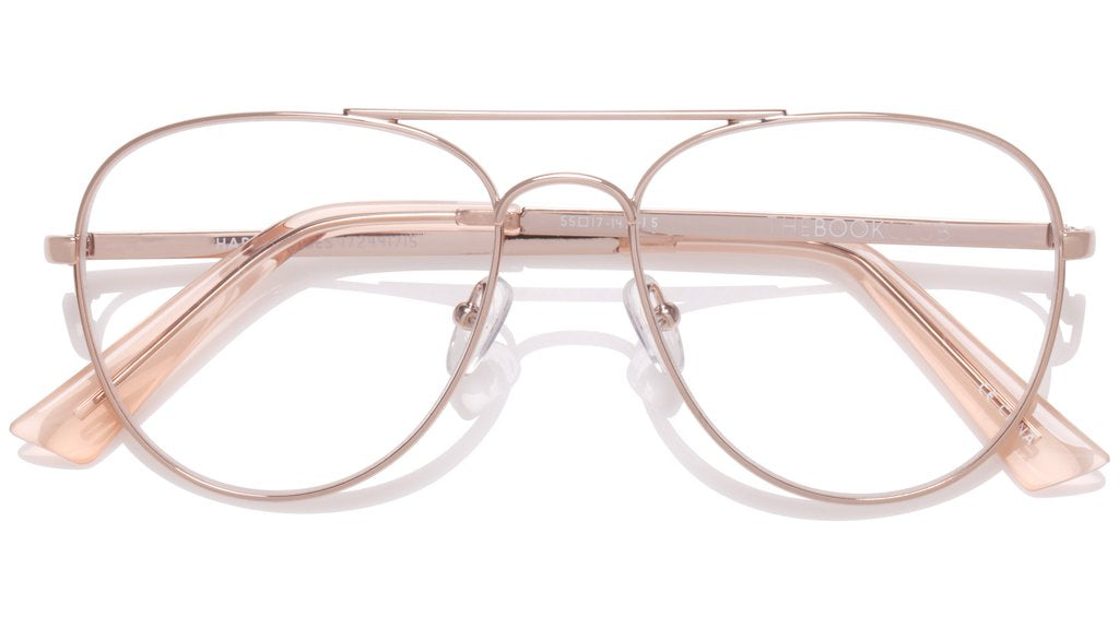The Book Club - Hard Crimes 55mm Rose Gold Eyeglasses / Screen Blue Light Clear +2.00 Lenses