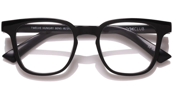 The Book Club - Twelve Hungry Bens 49mm Marker Black Eyeglasses / Screen Blue Light Clear +1.00 Lenses