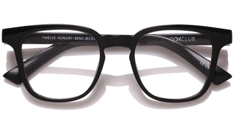 The Book Club - Twelve Hungry Bens 49mm Marker Black Eyeglasses / Screen Blue Light Clear +3.00 Lenses