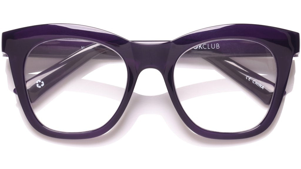 The Book Club - Harlots Bed 51mm Deep Purple Eyeglasses / Screen Blue Light Clear +1.50 Lenses