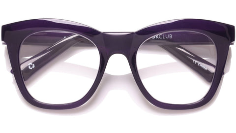 The Book Club - Harlots Bed 51mm Deep Purple Eyeglasses / Screen Blue Light Clear +3.00 Lenses