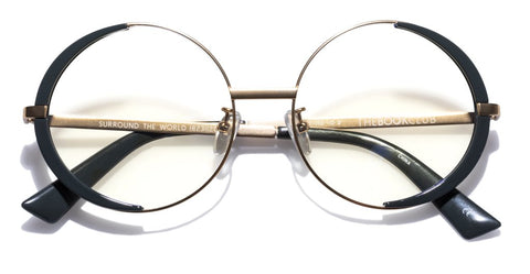 The Book Club - Surround the World 55mm Gold Emerald Eyeglasses / Screen Blue Light Clear +2.00 Lenses