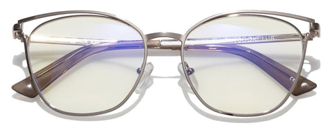 The Book Club - The Dutiful and the Scammed 55mm Rose Gold Eyeglasses / Screen Blue Light Clear +2.00 Lenses