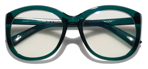 The Book Club - Love in the Time of a Dollar 55mm Emerald Eyeglasses / Screen Blue Light Clear +2.00 Lenses