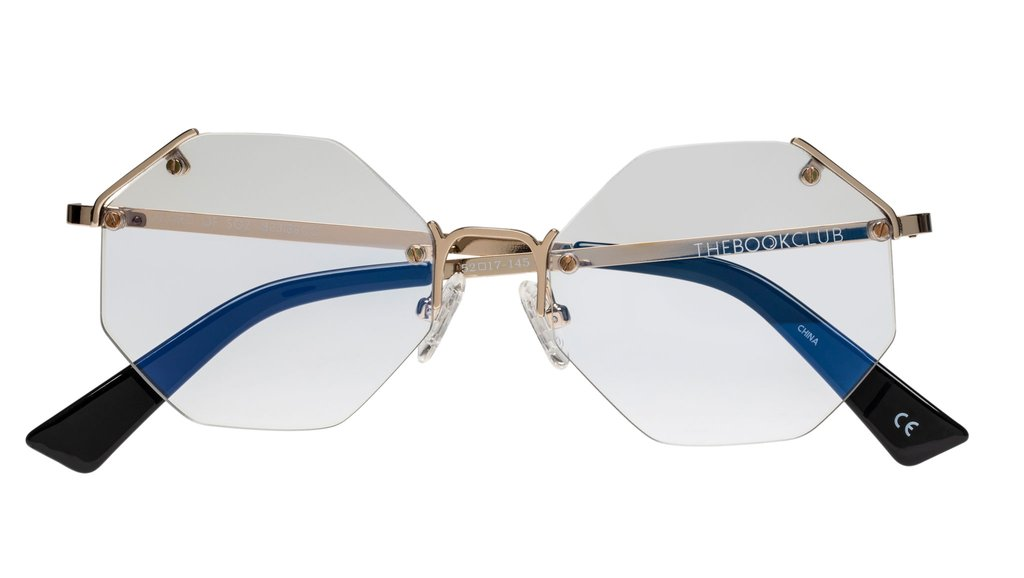 The Book Club - Lizard of Soz 52mm Gold Eyeglasses / Screen Blue Light Clear +3.00 Lenses