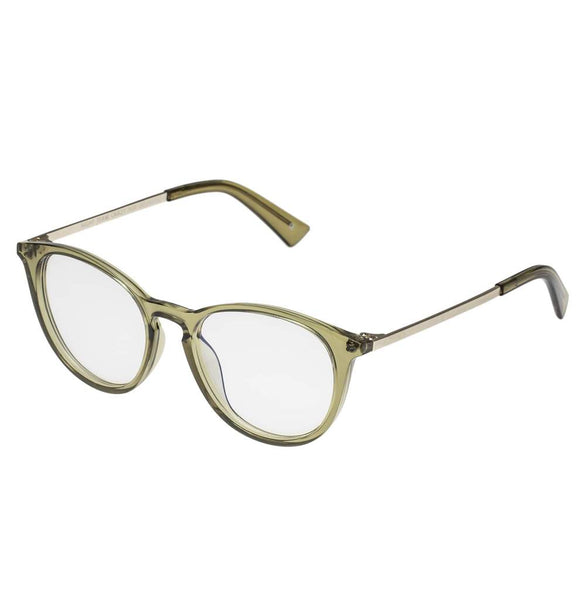 The Book Club - Night Team Crazy For +2.00 Crystal Olive Eyeglasses / Clear Lenses