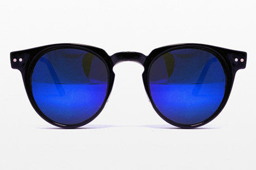 Spitfire Teddy Boy Black Sunglasses, Blue Mirror Lenses