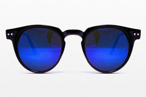 Spitfire - Teddy Boy Black Sunglasses, Blue Mirror Lenses