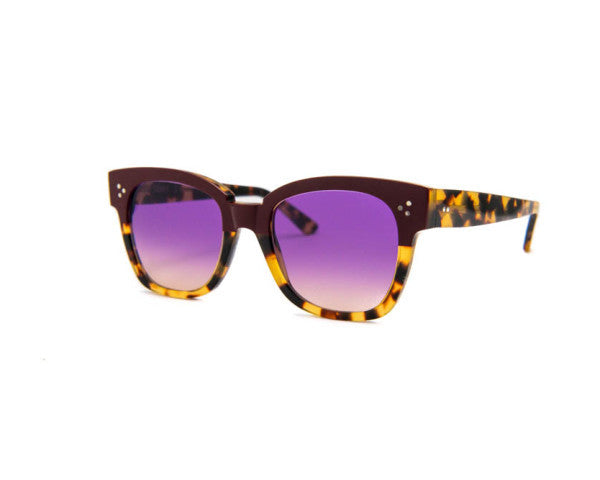 Kyme - Terry Yellow Tortoise and Purple Red Sunglasses