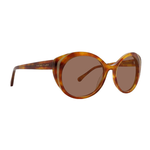 Trina Turk - Cires 55mm Tortoise Sunglasses / Brown Lenses