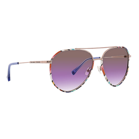 Trina Turk - Korcula 57mm Geometric Sunglasses / Brown Purple Lenses