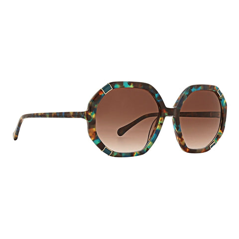 Trina Turk - Skyros 55mm Turquoise Sunglasses / Brown Gradient Lenses