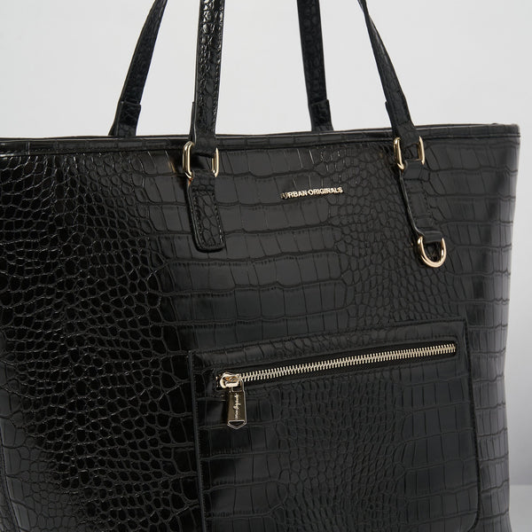 Urban Originals - The Weekend Black Croc Tote